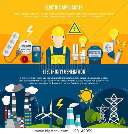 Horizontal flat banners with electric appliances and power generation on blue and yellow background isolated vector illustration