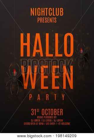 Dark halloween party poster. Vector illustration. Festive card with spiders on spider web. Invitation to nightclub.