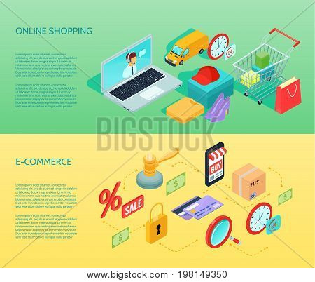 Isometric shopping ecommerce horizontal banner set with online shopping and ecommerce descriptions vector illustration