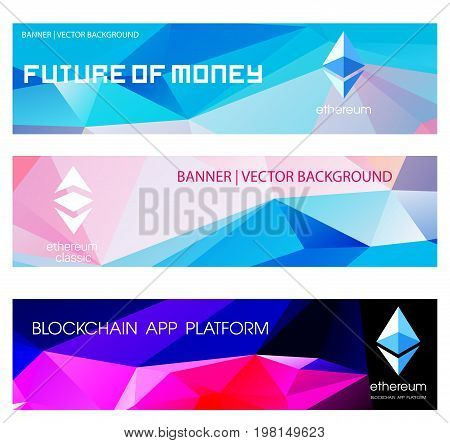 Ethereum cripto currency chrystal  icon. Blockchain platform logo. Sign Ethereum classic currencies. Bright banners in the polygonal style.