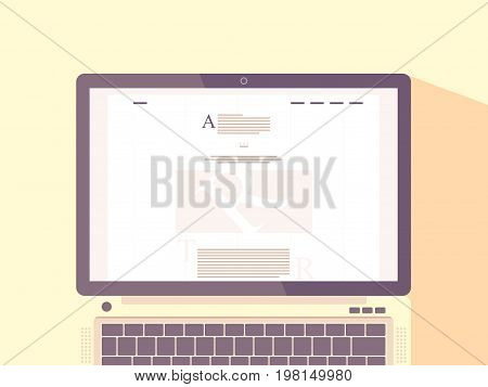 Laptop with internet blog on screen. Website content. Blogging concept flat vector illustration