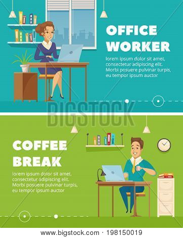 Office staff worker coffee break 2 horizontal retro banners set with personnel cartoon characters isolated vector illustration