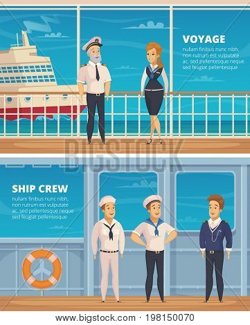 Yacht voyage ship crew members characters 2 horizontal cartoon banners with captain and sailors isolated vector illustration