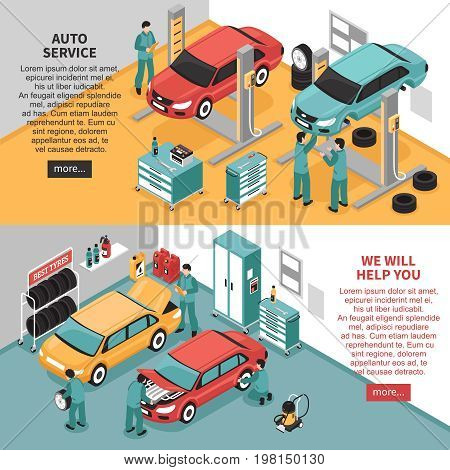 Colorful isometric auto service center horizontal banners set 3d isolated vector illustration