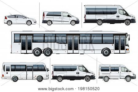 Vector realistic city transport mock-up for brand identity, isolated on white. Side views. EPS-10 separated by groups and layers with transparency effects for one-click repaint and easy edit.