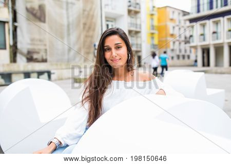 Portrait Of Slim Young Beautiful Girl In City Urban Scene, City Life. Cute Attractive Sexy Hipster W