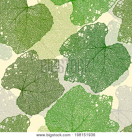 Green summer leaves with lace veins seamless pattern.