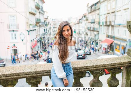 Portrait Of Happy Smiling Woman Standing On The Square On Sunny Summer Or Spring Day Outside, Cute S