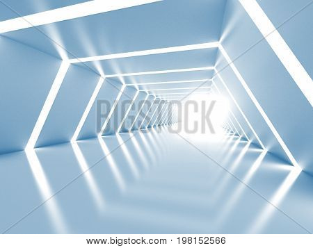 Abstract background with symmetric white shining tunnel interior. 3d illustration