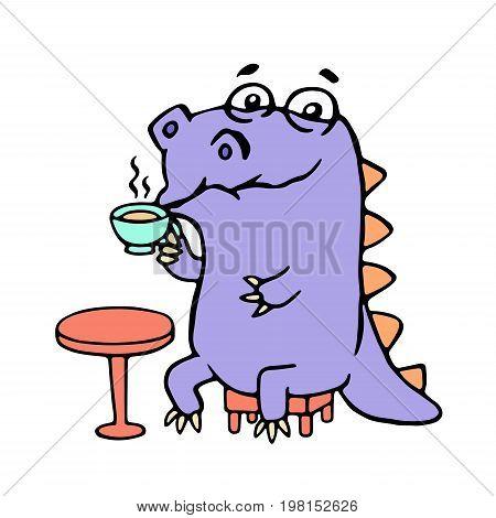 Cartoon purple croc drinking coffee. Vector illustration. Digital drawing cute character.