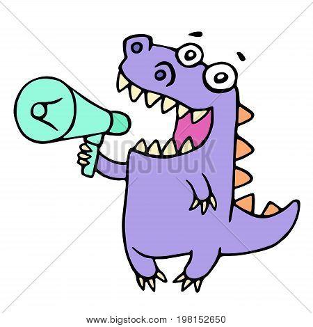 Happy purple dragon shouting in loudspeaker. Vector illustration. Cute cartoon character.