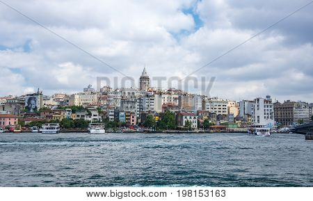 ISTANBUL TURKEY - JUNE 25 2015: Panoramic view of european part of Istanbul and Galata tower Turkey