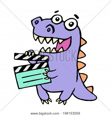 Happy purple dragon with movie clapper board. Vector illustration. Cute cartoon character.