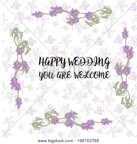 Vector wedding invitations set with lavender flowers on white background. Romantic tender floral design for wedding invitation, save the date and thank you cards. With place for text. violet