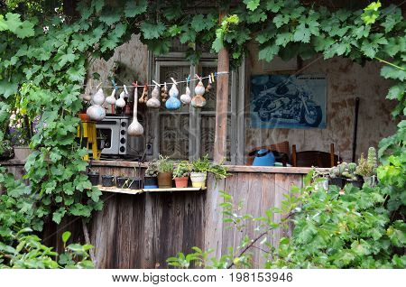 VELIKO TARNOVO, BULGARIA - JULY 16, 2017: Wooden balcony, flowerpots and green creeper in General Gurko street