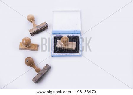 Old rubber stamps with the pad on white background
