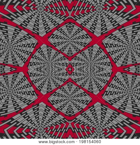 Abstract geometric background. Regular intricate squares pattern deep red, gray and black, symmetric and extensive.