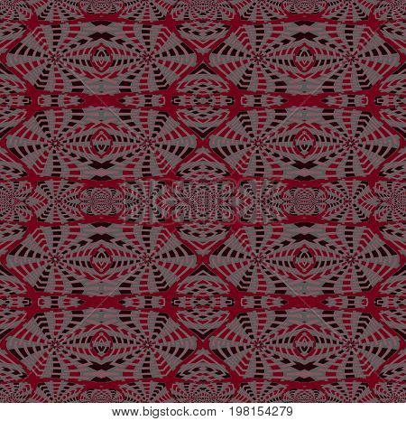 Abstract geometric seamless background. Regular intricate pattern deep red, pink, gray and black, symmetric and extensive.