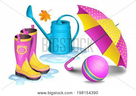 Pink-yellow gumboots in puddles children's umbrella blue watering can toy ball and maple leaf. Childhood autumn and rain concept. Vector illustration