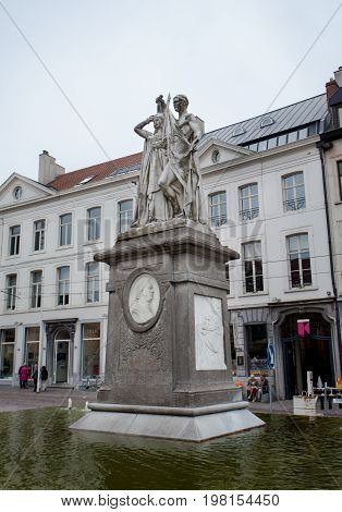 Ghent Belgium - June 26 2011: Statue of Jan Frans Willems in Ghent