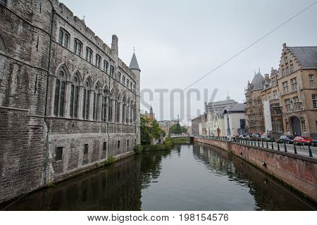 Ghent Belgium - June 26 2011: Traditional house and old building along the Ghent river