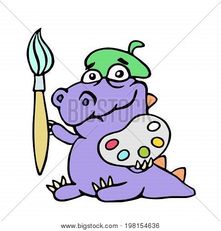Cartoon croc artist painter with brush and palette of colors. Vector illustration. Digital drawing cute character.