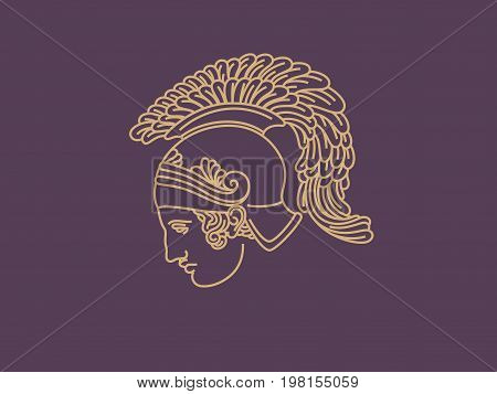 warrior logo. profile human spartan. vector illustration