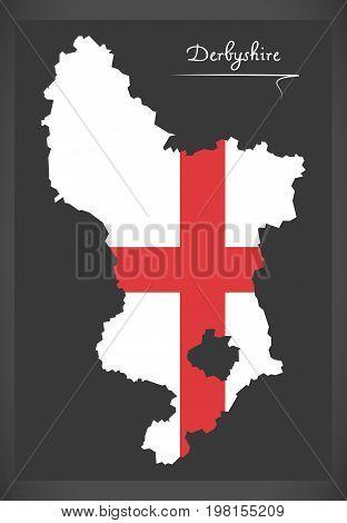 Derbyshire Map England Uk With English National Flag Illustration