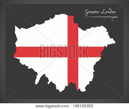 Greater London Map England Uk With English National Flag Illustration