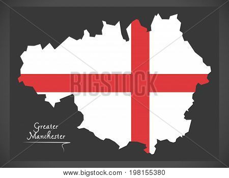 Greater Manchester Map England Uk With English National Flag Illustration