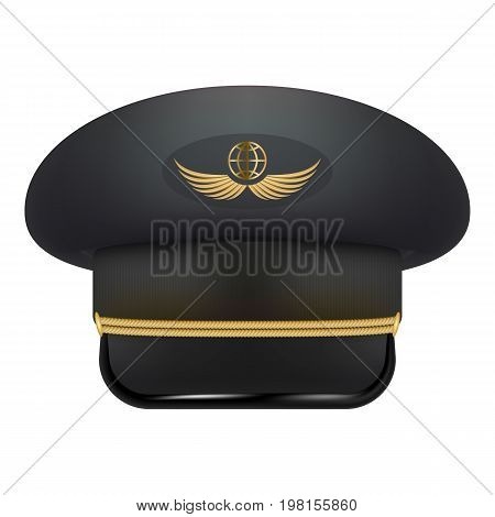 Professional Uniform Cap For Pilot. Headdress Civil Aircraft Pilots Isolated On A White Background. Vector Illustration. Headgear For Aviation Professional Workers