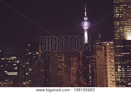 Spectacular night city view. Kuala Lumpur skyscrapers, Malaysia. Business metropolis. Modern buildings. Luxurious travel and tourism. Urban cityscape. Metropolitan architecture. Residental district
