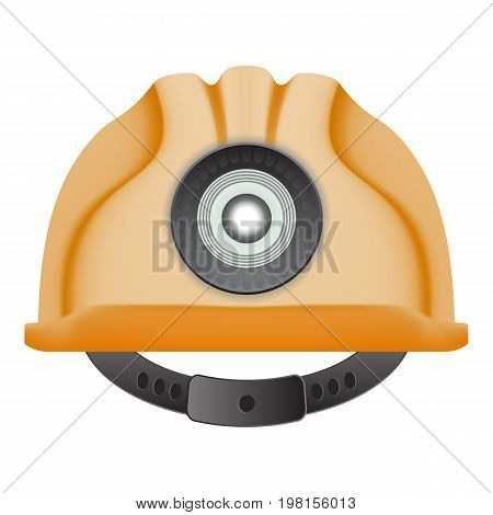 Yellow Safety Hard Helmet Isolated On A White Background. Vector Illustration. Industrial Security. Repair Symbol