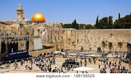 Western Wall in Jerusalem also known as Wailing Wall or Kotel in Jerusalem. The Western Wall is sacred place for all jewish an christians in the world. People come to pray and put notes to the wall.