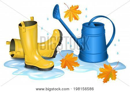 Yellow gumboots in puddle blue watering can and falling orange maple leaves. Autumn gardening season illustration. Rainy day. Realistic vector