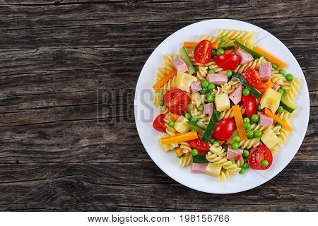 Pasta With Carrot And Zucchini Sticks, Ham
