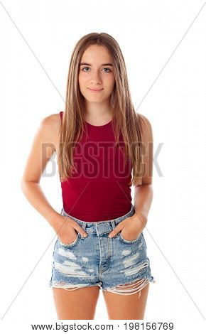 Happy teenger girl with fifteen years old isolated on a white background