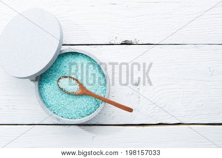 Sea salt on wooden table