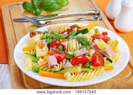 Light Healthy Colorful Antipasto Salad, Close-up