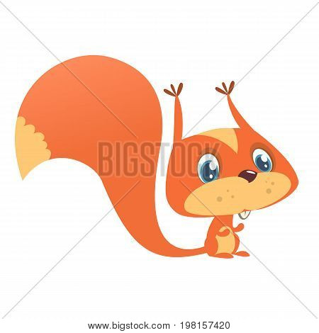 Cute cartoon squirrel in playful mood. Vector illustration isolated
