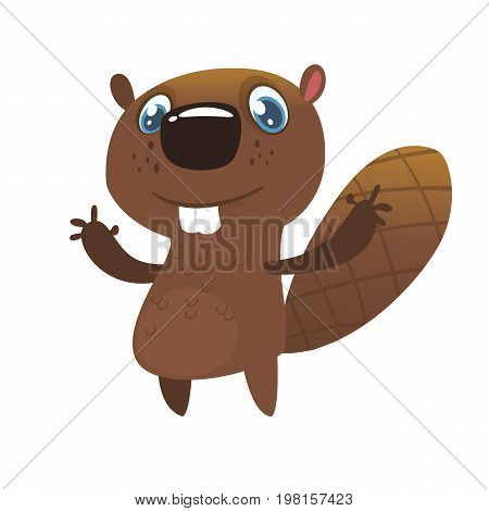 Cute cartoon beaver. Vector illustrated icon of a beaver