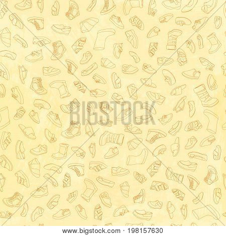 Kids shoes, set, collection of fashion footwear, seamless pattern. Baby, girl, boy, child, childhood. Vector design isolated illustration. Brown outlines, yellow watercolor background