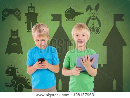 Digital composite of Blonde boys with tablet and phone in front of green background with toys graphics