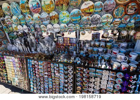 ITALY - APRIL 17: Stall selling souvenirs Michelangelo Square on April 17 2017 in Florence