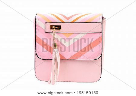 Fashion Concept: Pink Handbag With Shoulder Strap