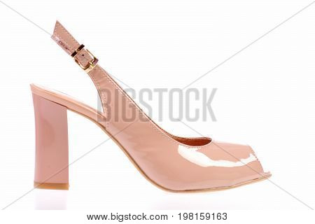 Fashion And Beauty Concept: Fancy Women's Patent Leather Shoe