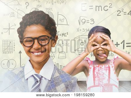 Digital composite of kids having fun with blank room background and math equations