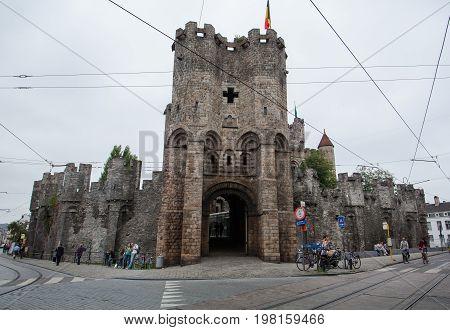 Ghent Belgium - June 26 2011: Gravensteen castle in Ghent