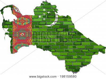 Turkmenistan map on a brick wall - Illustration,   Turkmenistan map with flag inside