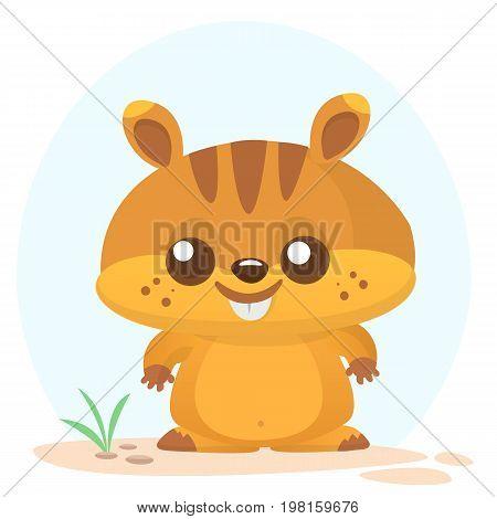 Cartoon marmot icon. Vector illustration of groundhog or chipmunk isolated